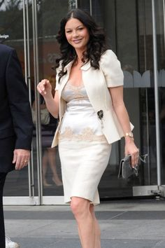 catherine zeta-jones, love this all white outfit, such a cute jacket