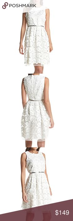 🎉HP🎉Calvin Klein White Lace Dress Be the life of the party with this fit and flare dress from Calvin Klein that features a floral lace design allover.  *Featured in white multi *Crewneck *Sleeveless *Fit and flare silhouette *Floral lace allover *Hidden back zipper *Belted waist *Lined *Polyester/elastane/nylon…dry clean.  MSRP is $188. Calvin Klein Dresses