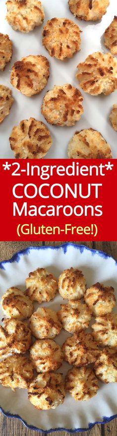 Coconut Macaroons Recipe (Gluten-Free Cookies) Coconut Macaroons - amazing gluten-free cookies from ! 2 Ingredient Coconut Macaroons Recipe, Macaroon Recipes, Dessert Recipes, Mini Desserts, Drink Recipes, Gluten Free Sweets, Gluten Free Cookies, Gluten Free Recipes, Vegan Recipes