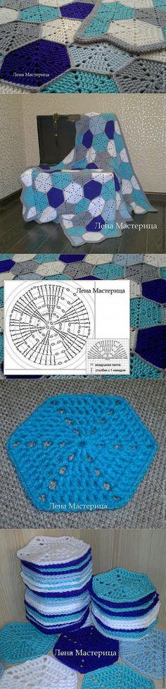 Шестиугольный мотив 'Мозаика' (вязание крючком) - Ярмарка Мастеров - ручная работа, handmade