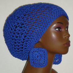 Royal Blue Crochet tam and earrings by Razonda Lee