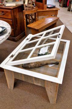Custom Made Shadow Box Coffee Table Antique Window
