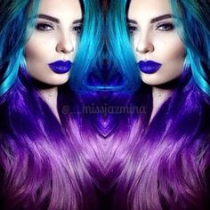 Like this bizarrely beautiful teal-to-purple ombré wig. | These Rainbow-Colored Wigs Prove That Unnatural Hair Is Beautiful