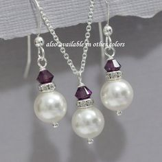 Plum Jewelry Set, White Pearl Necklace and Earrings Set, White Pearl and Purple  Bridesmaid Jewelry, Maid of Honor Gift, Wedding Jewelry Set