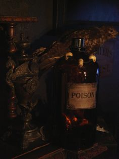 Antique Brown Pharmacy Bottle with custom made poison label