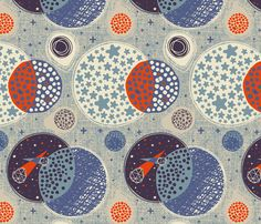 Outer Space fabric by meliszawang, available from Spoonflower
