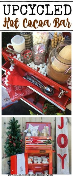 Upcycled Cocoa Bar using a tool chest. This repurpose is to show you can use just about anything in a new way. A fun way to entertain for any party. Great for a holiday celebration. Most items are reusable with little waste. Budget friendly entertaining. Entertaining doesn't have to be complicated. Most items thrifted.