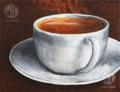 steaming hot COFFEE in a cup - original acrylic painting on canvas