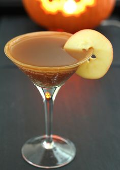 Caramel Apple Cider Cocktail ~  2 oz. SMIRNOFF Kissed Caramel Flavored Vodka  1 & 1/2 oz apple cider  1/4 oz lemon juice  Caramel sauce for rimming  Apple slices for garnish  PREPARATION  Combine all ingredients in a shaker with ice. Shake well. Strain into a martini glass.  Garnish rim with a bead of caramel sauce on the inside top edge (I used a handy squirt bottle) and a slice of apple.