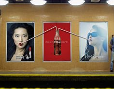 Coca-Cola: Straw, Poster version. Similar idea with previous ad but utilizes billboards beside it, I wonder what advertisers of those ads will think and act. Anyway, brilliant idea!