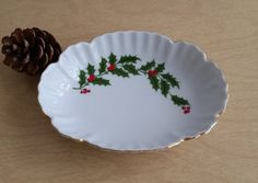 Holly Berry Bowl Mid Century Porcelain Holiday Bowl Candy Dish Christmas Home Decor Made in Japan by RandomAmazing on Etsy
