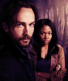 """Actor Tom Mison as Ichabod Crane and Actress Nicole Beharie as Abbie Mills in the television series """"Sleepy Hollow"""""""