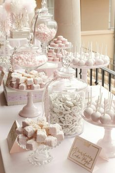dessert bars Planning a sweet table for a wedding? Here is How To Set Up A Candy Bar At A Wedding Reception. Be sure to steal these sweet table ideas for a wedding. Candybar Wedding, Wedding Desserts, Wedding Decorations, Elegant Desserts, Bridal Shower Desserts, Pink Decorations, White Desserts, Easy Desserts, Elegant Cakes
