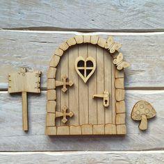 Wooden Fairy Door Blank Birch Pywood Pixie Hobbit Elf door Kit ready to decorate KIT SH Fairy Door Kit, Fairy Garden Doors, Fairy Doors, Door Crafts, Wooden Crafts, Craft Stick Crafts, Elf Door, Fairy Figurines, House Ornaments