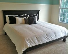Lipstick and Sawdust: King Bed is Complete! - Lipstick and Sawdust: King Bed is Complete! Home Bedroom, Bedroom Decor, Master Bedroom, Bedrooms, Bedroom Ideas, King Farmhouse Bed, Diy King Bed Frame, Bed Frame And Headboard, Bed Frames