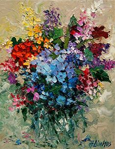 Cancion Del Color Heavy Texture on This Palette Knife Impressionist Floral Piece By A Dluhos >>> Visit the image link more details. (This is an affiliate link) Acrylic Painting Flowers, Abstract Flowers, Flower Artists, Small Canvas Art, Paintings I Love, Painting & Drawing, Palette Knife, Image Link, Amazon