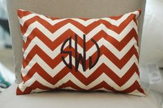 Monogrammed Burnt Orange Chevron Print Throw Pillow. $35.00, via Etsy.