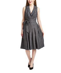 Love this Shelby & Palmer Gray Tie-Waist Collared V-Neck Dress by Shelby & Palmer on #zulily! #zulilyfinds