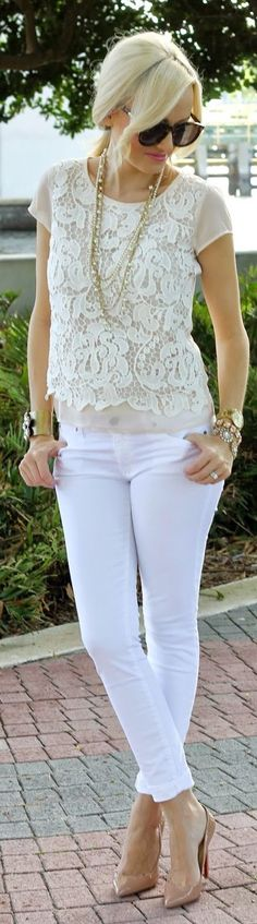 Ann Taylor Blush Feminine Lace Front Tee by A spoonful of Style