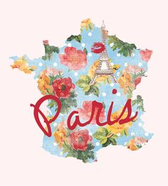 """""""I Love Paris"""" is the shape of France, in a colorful floral/polka-dot pattern. Red lips kiss an Eiffel Tower sketch and the word """"Paris"""" make this lovely print POP!"""