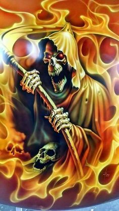 All About Art Tattoo Studio Rangiora. Grim Reaper Art, Don't Fear The Reaper, Art Harley Davidson, Reaper Tattoo, Totenkopf Tattoos, Skull Pictures, Skull Artwork, Skull Wallpaper, Goth Art
