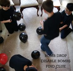 WE HID A SECRET CLUE IN ONE OF THE BALLOONS. THE AGENT'S JOB WAS TO 'DISABLE' (POP) ALL THE 'BOMBS' (BALLOONS)AND FIND THE CLUE.