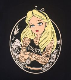 Alice in Wonderland Disney Tattoos Led Zeppelin Women's T-shirt Disney Punk, Punk Disney Princesses, Disney Princess Drawings, Art Disney, Disney Movies, Princess Art, Disney Characters, Disney Pixar, Disney Tattoos