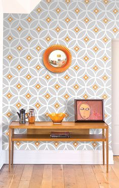 Layla Faye Daisy Chain Large Orange Surprise Wallpaper in store or online from Live Like The Boy in Colne, Lancashire selling lots of quirky home furnishing