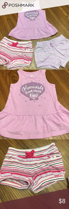 "Sz. 2T Crazy 8 (3) Piece Bundle Lilac peplum-style top that reads ""Mermaids have more Fun!"" And 2 separate Bloomer shorts that accessorize ANY chubby legs!🤗 stain free and in very good condition. Lilac bloomers have tiny hole in fabric between legs that is not noticeable. Crazy 8 Matching Sets"