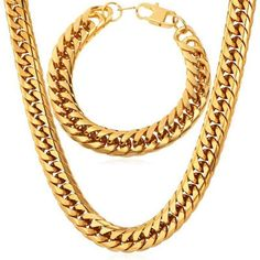 """Product details of U7 30"""" American Style Chunky 18K Real Gold Plated Chain Necklace Bracelet Set Fashion Men Jewelry Sets Punk Style (Gold) U7 30"""" American Style Chunky Hip Hop 18K Real Gold Plated Chain Necklace Bracelet Set Fashion Jewelry Accessories Punk Gifts Free Shipping (Gold)"""