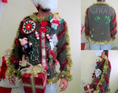 Hysterical Tacky Ugly Christmas Sweater Hodge Podge of Christmas Huge Light Up Present Mens XXL Ready to Ship Wild Fun Whats in my Package?