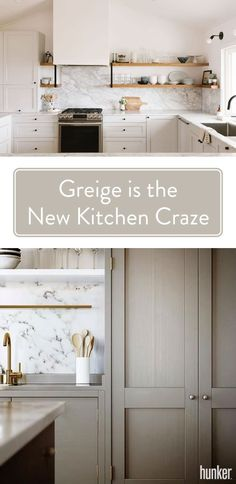Greige is a little bit gray, a little bit beige — and a whole lotta flexible. Cooler than taupe, but warmer than a straight gray, it's right there in the magical middle, where it can help bring subtle contrast to an all-white kitchen or a gentle coun Taupe Kitchen, Beige Cabinets, Taupe Kitchen Cabinets, All White Kitchen, Beige Kitchen, New Kitchen, Greige Kitchen Cabinets, Kitchen Renovation, Kitchen Design
