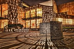A,A  by Jim Sanborn. Located on the University of Houston campus, A,A is a light sculpture in which beautiful poems, novels, and prose from all over the world illuminate the surface of the M.D. Anderson Library.