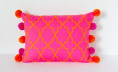Bright Pink and Orange Cushion, Throw Pillow, Decorative Cushion with Pom Poms, Modern Pink Cushion, Rectangular 17x13 inch Cushion by designSix5 on Etsy