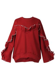 c42bc387 Sanny Ruffle Oversized Sweatshirt Discover the latest fashion trends online  at storets.com