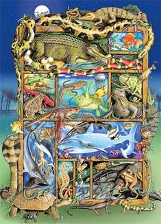 Looking for the perfect jigsaw puzzle or brain teaser challenge? Serious Puzzles is the shop for you, offering puzzles and games for kids of all ages. Reptiles And Amphibians, Brain Teasers, Games For Kids, Jigsaw Puzzles, Whimsical, Creatures, Scene, Painting, Challenge
