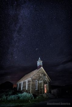 A beautiful old church lit up by the magical night sky