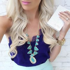 love the mint necklace with the navy lace cami top