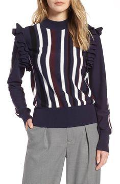 b2b086a2e Halogen Detachable Sleeve Sweater. Navy StripesRuffle SleevePetite ...