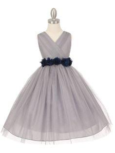 Gorgeous Silver Flower Girl Dress with Chiffon Flower Belt