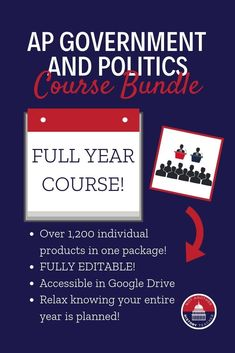 HUGE AP Government Bundle! Everything you need for an AP Government Full Year Course. Over 1,200 individual products in ONE package.  Lesson plans, cooperative group activities, centers, readings, games, projects, rubrics, tests, and more. #apgov #civics #historyteacher