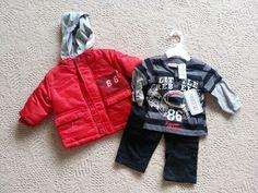 New Little Rebels Red Black Gray Coat Denim Shirt Pants Boys Sz 12 m 3 Piece Set #LittleRebels #Everyday