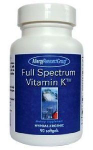 full-spectrum-vitamin-k-90-softgels-by-allergy-research-group by Allergy Research Group. $33.53. This item is not available for shipment to patients in Canada.. A comprehensive Vitamin K formula containing Vitamin K1 and Vitamin K2 with other fat-soluble antioxidant cofactors, such as vitamins A, D and E (as gamma- and delta-tocotrienols).