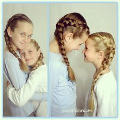 """2 of my cuties each wearing a Dutch French braid ... that equals """"Double Dutch"""" right?! www.BabesInHairland.com #frenchbraids #dutchbraid #hairstyles #instagram"""