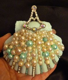 Scallop Sea Shell Christmas Aqua Ornament Beach Decor Ivory Blue Pearls Vintage Antique Rhinestone Jewelry Embellishments