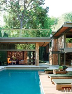 Design collective Commune did a top-to-bottom renovation of entrepreneur Derek Mattison's Los Angeles bachelor pad, including this beautiful outdoor pool area.