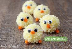 Simple and Cute:  Pom Pom Easter Chicks, via Crafts Unleashed