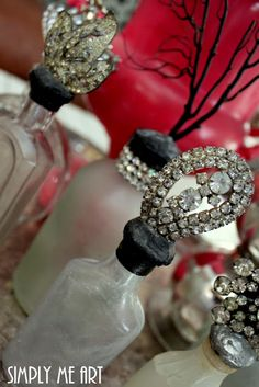 I Love Old bottles topped with sparkling Vintage Rhinestone