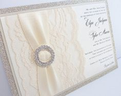 Wedding Invitations Wedding Invite Glitter by LavenderPaperie1