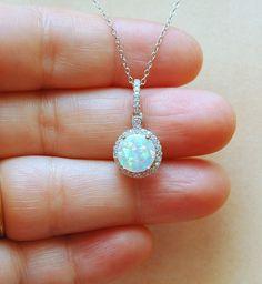 White Opal Necklace October Birthstone by AyansiWeddingDesigns